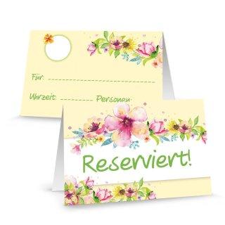 Beschreibbare Reserviertschilder - grün bunt sommerlich mit Blumen Muster - Reserviert Schild