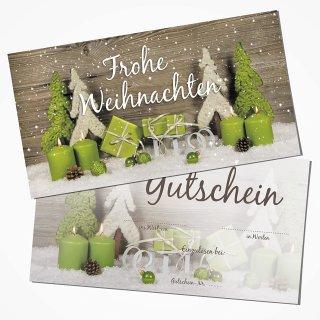 Weihnachtsgutschein Einkaufsgutschein mit Text FROHE WEIHNACHTEN doppelseitig 21 x 10,5 cm grün grau