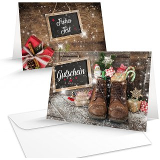 Weihnachtlicher Gutschein zum Beschriften & Bedrucken - Weihnachtsgutschein für Kunden Mitarbeiter