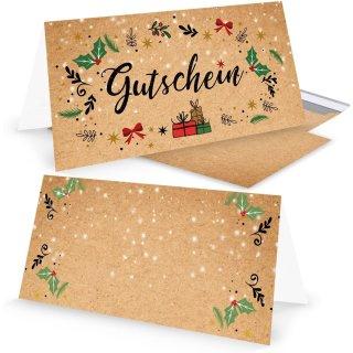 Weihnachtsgutschein rot grün natur Gutschein weihnachtlich für Kunden Mitarbeiter Freunde