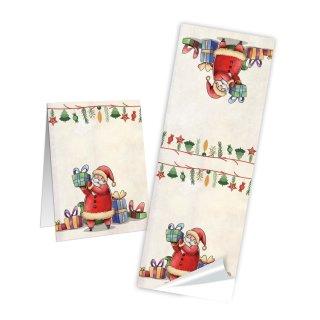 Lange Weihnachtsaufkleber - 5 x 14,8 cm - beige bunt Santa Claus Weihnachtsmann selbstklebend Geschenktüten