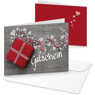Gutscheinkarte grau weiß leer beschreibbar & bedruckbar - Geschenkgutschein für Kunden Geschäft Firma