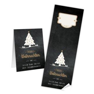 Frohe Weihnachten Aufkleber groß - 7,2 x 21 cm - schwarz gold Tannenbaum beschriftbar Päckchen