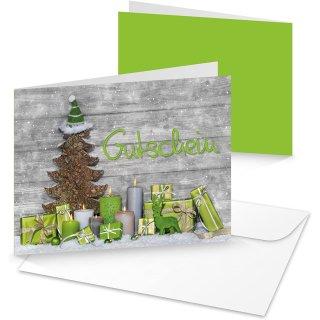 Weihnachtsgutscheine grün grau Geschenk Gutschein Einkaufsgutschein zum Beschriften Kundengutschein