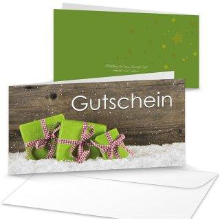 Weihnachten Gutschein Kundengutschein Geschenkgutschein 21 x 10,5 cm braun grün mit Kuvert