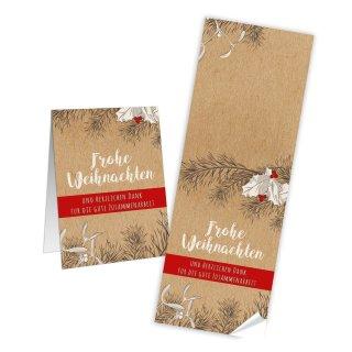 Längliche Aufkleber Frohe Weihnachten - 7,2 x 21 cm - natur rot Tannenzweige Papiertüten Geschenktüten
