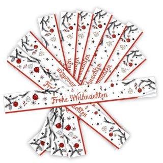 Lange Aufkleber FROHE WEIHNACHTEN rot weiß schwarz 5 x 42 cm verschließen Weihnachtsverpackung