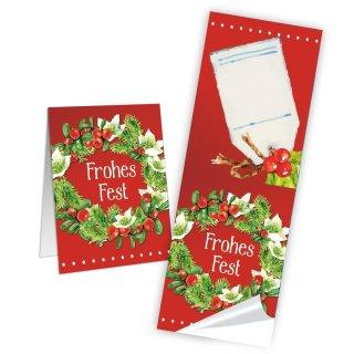 Eckige Aufkleber Weihnachten rot grün Frohes Fest 5 x 14,8 cm beschreibbar Weihnachtsgeschenke