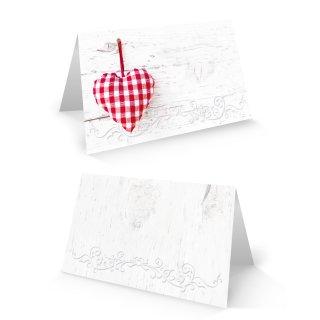 Kleine Klappkarten zum Beschriften 8,5, x 5,5 cm - rustikale Tischkarten mit rotem Herz