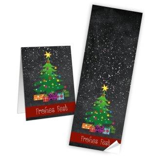 Aufkleber weihnachtlich eckig Frohes Fest grün rot schwarz 7,2 x 21 cm Gebäcktüten Banderolen verzieren