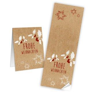 Frohe Weihnachten Aufkleber länglich rot weiß natur 7,2 x 21 cm Mistelzweig dekorieren Packerl