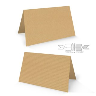 Tischkarte 8,5 x 5,5 cm Kraftpapier-Optik braun - kleine Kärtchen zum Beschriften