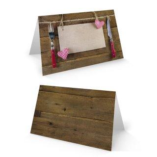 Tischkarte 8,5 x 5,5 cm braun rot weiß mit Messer & Gabel Motiv - rustikale Tisch Kärtchen