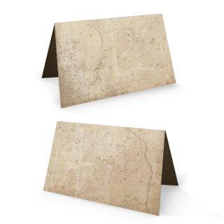 Tischkarte 8,5 x 5,5 cm braun beige natur marmoriert im Vintage-Stil - rustikale Namensschilder Karten
