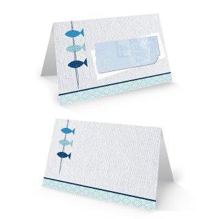 Tischkarte 8,5 x 5,5 cm 3 Fische blau weiß maritim - Namenskarte Platzkarte Taufe Kommunion