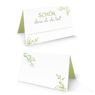 Tischkärtchen 8,5 x 5,5 cm mit Text - Schön dass du da bist - weiß grün floral mit Blätterranken