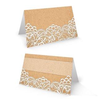 Tischkarte 8,5 x 5,5 cm Kraftpapier-Optik braun mit weißer Spitze - Hochzeit Taufe