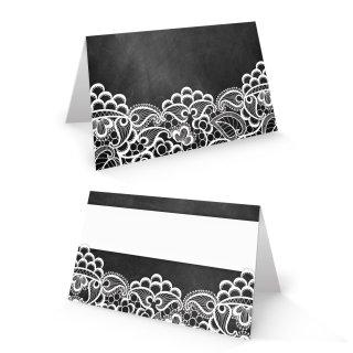 Tischkarte 8,5 x 5,5 cm Tafelkreide-Optik schwarz mit weißer Spitze - Namensschild Namenskarte