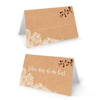 Tischkarte 8,5 x 5,5 cm Schön dass du da bist braun weiß Boho Vintage - Platzkarte Hochzeit