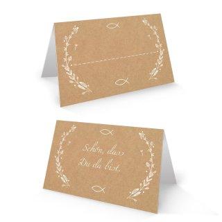Tischkarte 8,5 x 5,5 cm in Kraftpapier-Optik Schön dass du da bist braun weiß mit Fisch-Motiv
