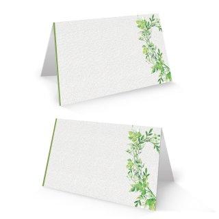 Namenkärtchen 8,5 x 5,5 cm weiß grau mit grünen Blätterranken - floral- Hochzeitsdeko