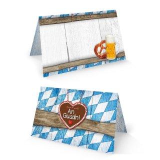 Bayerische Tischkarte 8,5 x 5,5 cm zum Beschriften blau weiß braun - Deko Bayern Oktoberfest