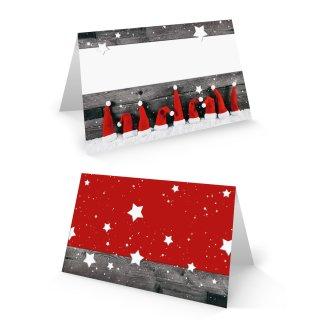 Weihnachtliche Tischkarte 8,5 x 5,5 cm rot weiß grau mit Nikolausmützen - Tischdeko Weihnachtsfeier