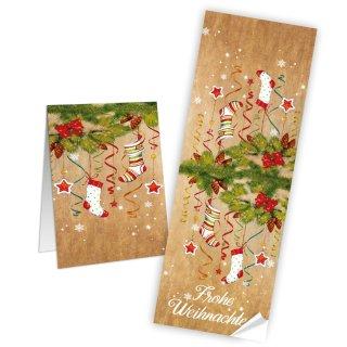 Frohe Weihnachten Aufkleber länglich 7,2 x 21 cm braun bunt rot Paketaufkleber Nikolausstiefel