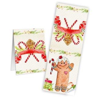 Weihnachtsetiketten lang 7,2 x 21 cm creme bunt rot Lebkuchenmann Kekstüten Gebäckbeutel