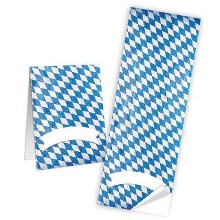 Bayerische Aufkleber Raute weiß blau 5 x 14,8 cm Geschenkverpackung Tischkarten basteln