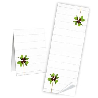 Geschenkaufkleber länglich - 5 x 14,8 cm - weiß Glücksklee beschriftbar Gastgeschenk give-away