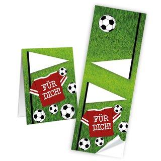 Fußballaufkleber eckig - 5 x 14,8 cm - mit Text für dich bunt grün rot beschreibbar Mitgebsel WM EM