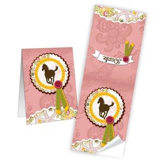 Aufkleber länglich - 5 x 14,8 cm - rosa gelb weiß mit Pferd und Text Danke Kinder Banderolen give-away