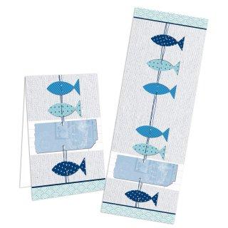 Maritime Aufkleber - 5 x 14,8 cm groß - blau grau Fische Kommunion Taufe Firmung Hochzeit Banderolen