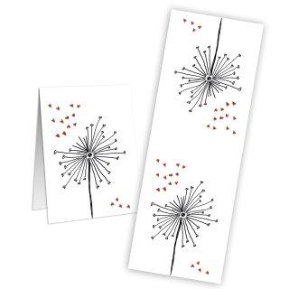 Aufkleber groß - 5 x 14,8 cm - weiß rot schwarz Pusteblume Herzen Mitgebsel Hochzeit Kommunion