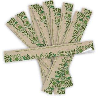 Geschenkaufkleber grün neutral 5 x 42 cm lang Verschließen Paketen Versandkartons floral