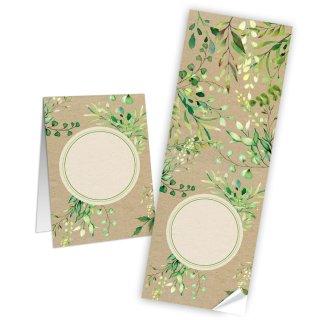 Längliche Aufkleber natur braun grün Blätter 7,2 x 21 cm zum Beschreiben Sticker Geburtstag verzieren