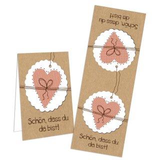 Aufkleber länglich - 5 x 14,8 cm - Schön dass du da bist braun weiß rosa Herz Firmung Geburtstag