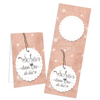 Aufkleber lang Schön dass du da bist 5 x 14,8 cm rosa weiß Pakete Sackerl Feier Firmung