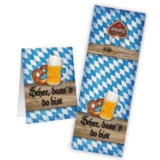 Bayerische Aufkleber Schön dass du da bist - 5 x 14,8 cm - blaue Raute holzoptik rustikal kariert