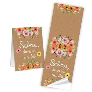 Lange Schön dass du da bist Aufkleber 5 x 14,8 cm braun bunt Blumen Taufe Hochzeit Tischdeko Verpackung