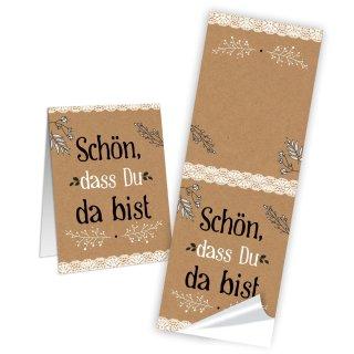 SCHÖN DASS DU DA BIST Papier Aufkleber 5 x 14,8 cm schwarz vintage dekorieren Geschenktüten