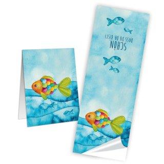Maritime Schön dass du da bist Aufkleber länglich 5 x 14,8 cm bunt türkis Regenbogenfisch Karten Deko