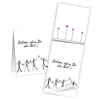 Aufkleber lang Schön dass du da bist 5 x 14,8 cm weiß rot schwarz Herzen Kommunion Karten verzieren