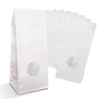 Blockbodenbeutel weiß mit Fenster & Folieneinlage 8 x 5 x 24,5 cm lebensmittelgeeignet für Plätzchen Gebäck