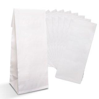 Weiße Blockbodenbeutel 7 x 20,5 x 4 cm mit Folieneinlage für Lebensmittel Geschenktüten