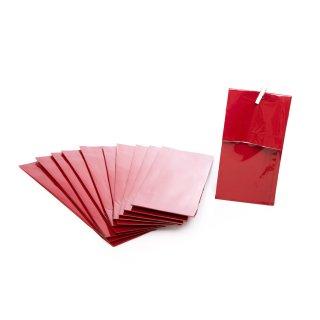 Rote Blockbodenbeutel 7 x 20,5 x 4 cm mit Folieneinlage lebensmittelecht  als Keksbeutel Teetüten