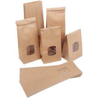 Blockbodenbeutel braun mit Fenster 10,5 x 6,5 x 29 cm  mit Folieneinlage für Lebensmittel Gewürze