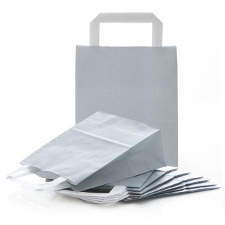 Henkeltasche mit Boden 18 x 22 x 8 cm grau silber für Geschenke give-aways