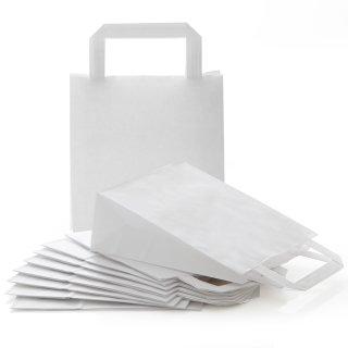 Henkeltüten 18 x 22 x 8 cm weiß mit Boden für Gastgeschenke Geburtstagstüten